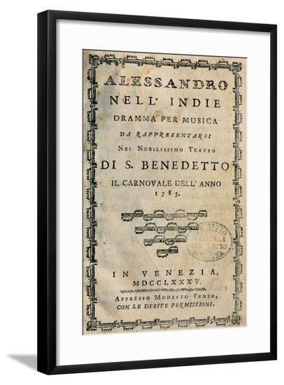 Italy, Bologna, Frontispiece of Metastasio, Pseudonym of Pietro Trapassi, Alexander in India--Framed Giclee Print