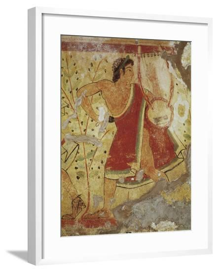Italy, Latium Region, Tarquinia, Etruscan Necropolis, Tomb of the Leopards Depicting Lyre Player--Framed Giclee Print
