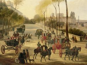 Italy, Rome, Carriage Rides in Pincio Gardens, Unknown Artist, Painting