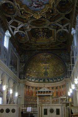 Italy. Rome. the Basilica of Saint Clement. Interior of the Second Basilica and the Apse Mosaic