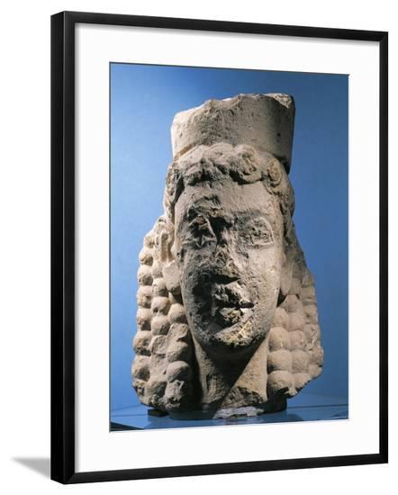 Italy, Sicily, Syracuse, Laianello, Goddess Head, Limestone Sculpture--Framed Giclee Print