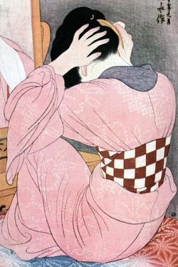 A Girl Dressing Her Hair, Or, Woman with an Undersash, C1921 by Ito Shinsui