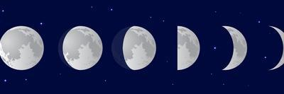 Vector Illustration Set. Phases of the Moon or Lunar Phase in the Night Sky with Stars. Different S