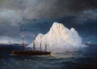 A Steamboat Sailing by an Iceberg by Ivan Aivazovsky
