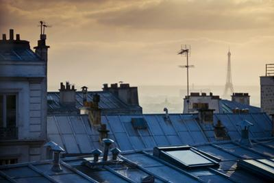 Paris Typical Rooftops at Sunset and Eiffel Tower in the Distance, Seen from Montmartre Hill by ivan bastien