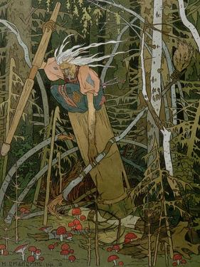 "The Witch Baba Yaga, Illustration from the Story of ""Vassilissa the Beautiful,"" 1902 by Ivan Bilibin"