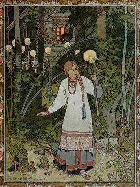 "Vassilissa in the Forest, Illustration from the Russian Folk Tale, ""The Very Beautiful Vassilissa"" by Ivan Bilibin"