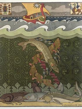 Bogatyr Volga Transforms himself into a Pike, illustration for the Russian Fairy Story, 'The Volga' by Ivan Bilibine