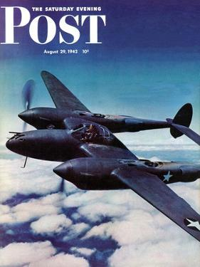 """Airborne Bomber,"" Saturday Evening Post Cover, August 29, 1942 by Ivan Dmitri"