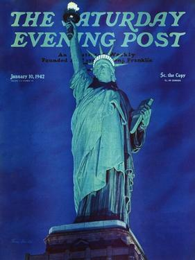 """Statue of Liberty,"" Saturday Evening Post Cover, January 10, 1942 by Ivan Dmitri"