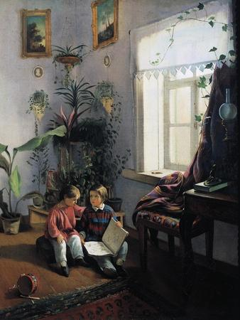 Children Browsing Picture Book, 1854