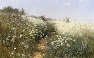 A Lady with a Parasol in a Meadow with Cow Parsley, 1881 by Ivan Ivanovitch Shishkin