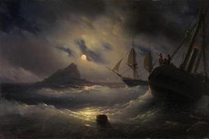 Gibraltar by Night, 1844 by Ivan Konstantinovich Aivazovsky