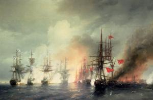 Russian-Turkish Sea Battle of Sinop on 18th November 1853, 1853 by Ivan Konstantinovich Aivazovsky