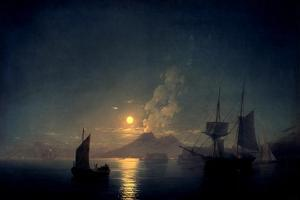 The Bay of Naples by Moonlight, 1842 by Ivan Konstantinovich Aivazovsky