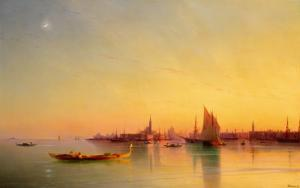 Venice from the Lagoon at Sunset by Ivan Konstantinovich Aivazovsky