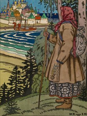 Peasant Girl. Illustration to the Book Contes De L'Isba, 1931 by Ivan Yakovlevich Bilibin