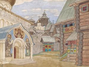 Russian Village, Stage Design for the Opera the Tale of Tsar Saltan by Ivan Yakovlevich Bilibin