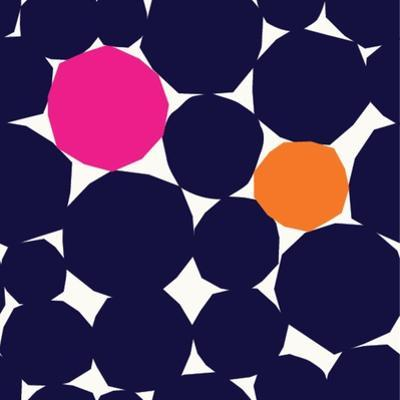 Seamless Repeating Pattern with Abstract Geometric Shapes in Navy Blue, Orange and Pink on White Ba by Iveta Angelova