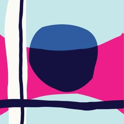 Seamless Repeating Pattern with Abstract Shapes in Light Blue, Navy Blue and White on Pink Backgrou by Iveta Angelova