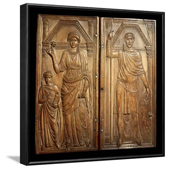 Ivory Diptych of Stilicho and Wife Serena and Son Eucherius--Framed Photo