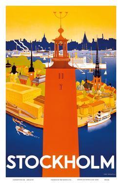 Stockholm - Sweden - Port of Stockholm and City Hall by Iwar Donner