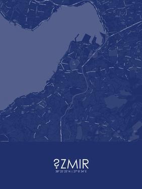 Izmir, Turkey Blue Map