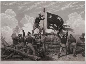 Raising the Flag over Fort Moultrie by J.a. Oertel