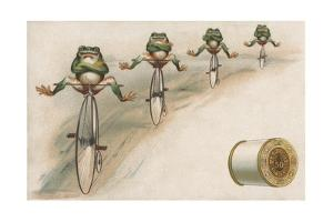 J and P Coats Trade Card of Frog Cyclists