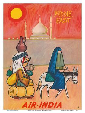 Middle East - Air India - Maharaja with Burka Veiled Woman by J B^ Cowasji