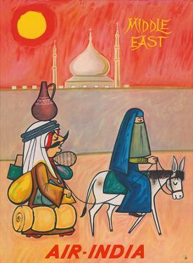 Middle East - Air India - Maharaja with Burka Veiled Woman by J B. Cowasji