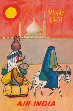 Middle East - Air India - Maharaja with Burka Veiled Woman by J B. Cowasji