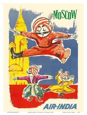 Moscow Russia - Air India Mascot Maharaja - Barynya Russian Folk Dance by J.B. Cowasji
