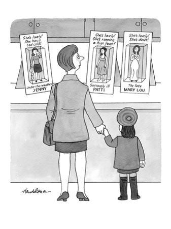 A mother and her daughter stand looking at three Barbie-like dolls:  Under… - New Yorker Cartoon by J.B. Handelsman