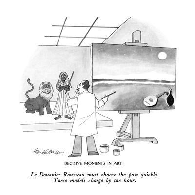 Decisive Moments In Art-Le Douanier Rousseau must choose the pose quickly.? - New Yorker Cartoon
