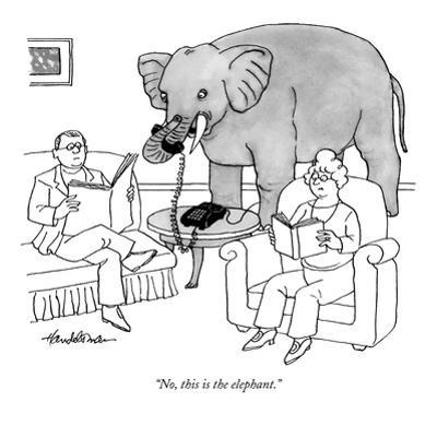 """No, this is the elephant."" - New Yorker Cartoon by J.B. Handelsman"