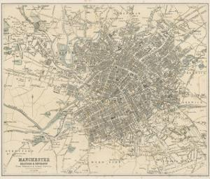 Map of Manchester and Its Environs by J. Bartholomew