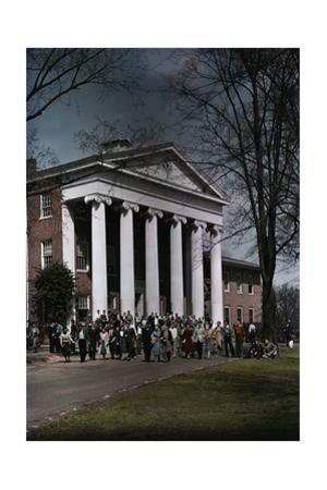 A Crowd Walks Though the University of Mississippi Campus
