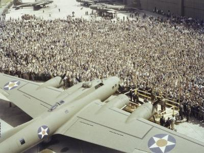 Boeing Workers Gather to Hear a Pilot Recount an Air Battle, Seattle, Washington