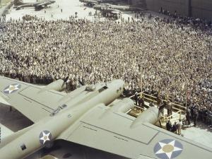 Boeing Workers Gather to Hear a Pilot Recount an Air Battle, Seattle, Washington by J. Baylor Roberts