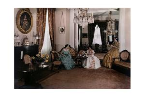 Young Women Have Tea in a French Inspired Mansion by J. Baylor Roberts