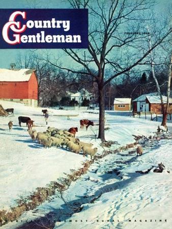 """Snowy Barnyard,"" Country Gentleman Cover, February 1, 1948"
