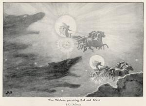 The Wolves Skoll (Repulsion) and Hati (Hate) Pursue Sol (Sun) and Mani (Moon) Across the Skies by J.c. Dollman