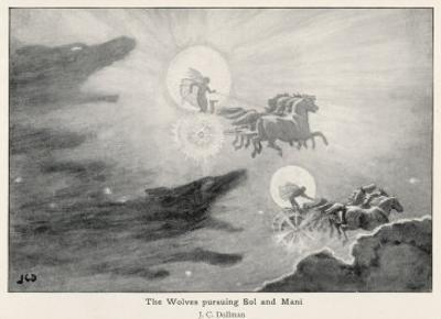The Wolves Skoll (Repulsion) and Hati (Hate) Pursue Sol (Sun) and Mani (Moon) Across the Skies