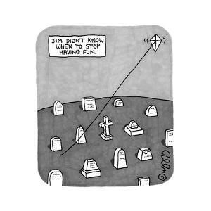 """Jim Didn't Know When to Stop Having Fun"" -- A kite flies on a string comi... - New Yorker Cartoon by J.C. Duffy"
