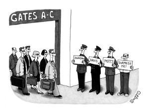 Man holding sign that says 'surprise me,' standing next to three limo driv… - New Yorker Cartoon by J.C. Duffy
