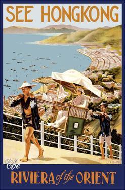 See Hong Kong - The Riviera of the Orient - China - Sedan (Jianyu) Shoulder Carriage by J.D. Pandary
