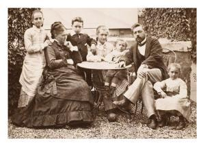Mr. and Mrs. Gustave Eiffel and their Five Children in their Garden Levallois by J. David