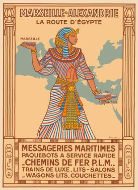 Marseille to Alexandria - The Route to Egypt - PLM Railway - Messageries Maritimes Ships by J. Daviel