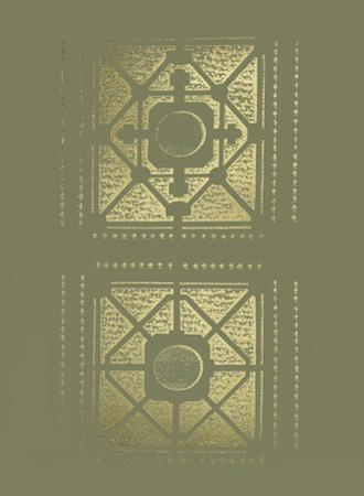 Gold Foil Garden Plan I on Mid Green by J.F. Blondel